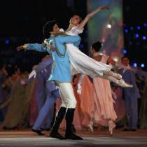 SOCHI, RUSSIA - FEBRUARY 07:  Dancers Danila Korsuntsev and Svetlana Zakharova perform during the Opening Ceremony of the Sochi 2014 Winter Olympics at Fisht Olympic Stadium on February 7, 2014 in Sochi, Russia.  (Photo by Paul Gilham/Getty Images)